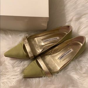 Manila Blahnik green flats with gold shoes